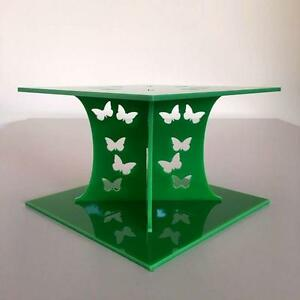 Butterfly Design Square Wedding/Party Cake Separators - Bright Green Acrylic