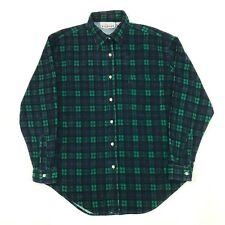 Vintage CORDUROY Check Pattern Shirt Size MEDIUM UK 14 Green Blue Long Sleeve