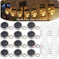 15pack Solar 20 LED Mason Jar String Light Lid Insert Garden Xmas Fairy Firefly