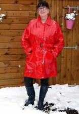 Weather Vain 3/4 shiny RED PVC PU raincoat sold out in shops, soft shiny mack 8