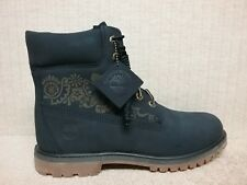 """TIMBERLAND - TB0A1N6U -WOMEN'S 6"""" Boots -NAVY BLUE Floral Print Leather -Size 10"""