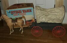 Vintage Johnny West Covered Wagon With Horse In Original Box