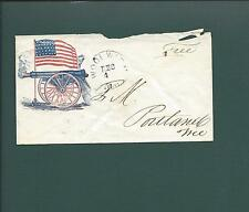 Civil War Patriotic Stampless FREE, Woolrich, ME CDS. VF Firing Cannon Design.