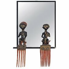 Unique Black Steel Frame Mirror with Figural African Comb Mounts