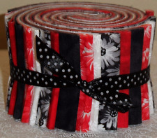 "20~Jelly Roll Fabric Strips Quilting Red White Black Floral 2.5""Cotton Quilting"