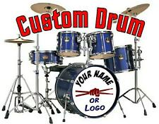 CUSTOM PERSONALISED BAND NAME OR LOGO DRUMKIT DECAL STICKER bass drum head skin