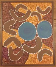 "Julia Lawford Australian Aboriginal Rain Cloud artist oil painting canvas 22x27"""