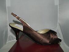 NIB Women's Dyeables NICKY Chocolate Satin Heel Bridal Wedding Size 9 EE