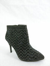 NWOB GIANNI BINI $98 Jewel Heel Dress Booties Ankle Boots Fabric Upper Gray 6M