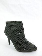 NWOB GIANNI BINI $98 Jewel Heel Dress Booties Ankle Boots Fabric Upper Gray 6M