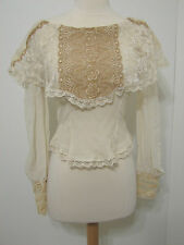 Vintage Heirlooms Susan Lane ECRU Cream Tan Chantilly Lace Tapered Asy Blouse S