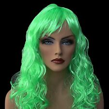 "18"" Long Lime Green  Synthetic Curly Wavy Hair Wig for Cosplay Party Fancy Dress"