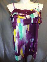 Lane Bryant Fun and Flirty cami tank Top plus size 14 purple multi