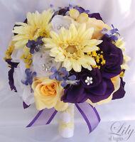 17pcs Wedding Bridal Bouquet Set Decoration Package Silk Flowers PURPLE YELLOW