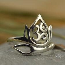 Yoga Jewelry Ring Lotus Openwork Ohm Flower Spiritual Adjustable UK J K L M N O