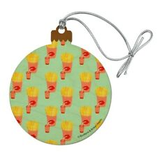 French Fries and Soda Pop Pattern Wood Christmas Tree Holiday Ornament