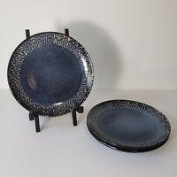 """Set of 3 Meritage Jaspar Blue Denim Handpainted Dinnerware Salad Plates 8"""""""