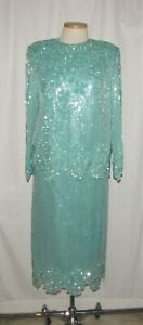 Saks Fifth Avenue 2pc Mint Green Sequin Floral Silk Blouse & Skirt Set XL VTG