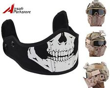 Tactical Face Mask Armour Skull for Fast Helmet Military Airsoft Paintball Black