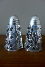 Vintage decorative salt and pepper set silver marked by Taxco, collector, 10-13