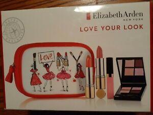 NIB Elizabeth Arden NY Love Your Look Box Gift Set Lip Stick & Gloss, Eyeshadow.