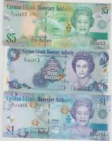 THREE CAYMAN ISLANDS BANKNOTES P33, P38 & P39 IN MINT CONDITION