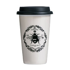Queen Bee Travel Coffee Mug Double Walled Porcelain & Silicone 330ml Cup