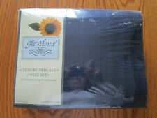 At Home Cotton Polyester Percale Navy Blue Full Sheet Set-New