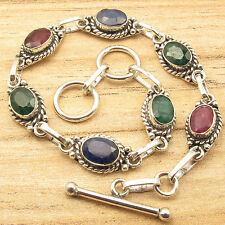 Bracelet 7.9 Inch 925 Silver Plated Simulated RUBY, EMERALD & SAPPHIRE