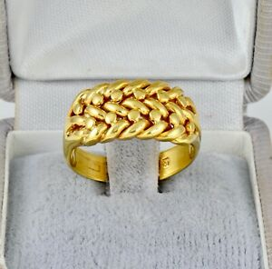 Men's Gents Antique Victorian Solid 18Ct Yellow Gold Keeper Ring c 1901