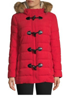 Tommy Hilfiger Faux Fur-Trim Toggle Jacket 400$ SIZE XS RED