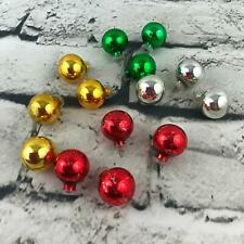 """Vintage 1"""" Mini Glass Bulb Christmas Ornament Lot Of 14 Gold Silver Red Green"""