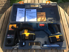 Ryobi 18v One+ CRP-1801 Cordless Reciprocating Saw + Charger Batteries & Manual