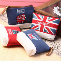 Union Jack Flag UK London Double Decker Bus Zipper Coins Purse Bag Wallet x 1