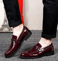 Men's Dress Formal Patent Leather Slip On Lace up Oxfords Brogue Loafers Shoes