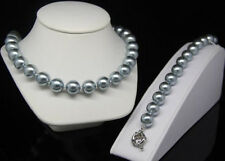 12mm Pretty Silver Gray Sea Shell Pearl Fashion jewelry set Necklace Bracelets
