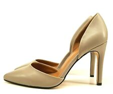 Warehouse Ladies D'orsay Shoes UK 7 Beige Leather Stiletto Heel Pointed Classic