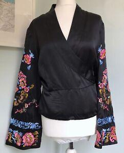 MONSOON Originals Black 100% Silk Embroidered Wrap Kimono Jacket Top UK 16 Party