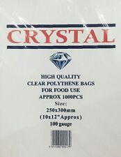 "1000x CRYSTAL CLEAR PLASTIC LDPE FOOD POLY BAG 10""x12"" 100G"