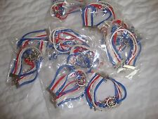 Bulk bracelots friendship group 12 red white blue party novelty nautical see*