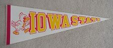 Old 1980s  IOWA STATE CYCLONES Mascot Logo FULL SIZE PENNANT UNSOLD STOCK