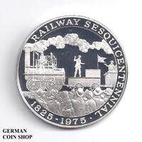 Medaille Dampflok Zug Eisenbahn Silber Polierte Platte PP - Train Railway