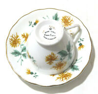 Tea cup and Saucer by Crown Essex Bone China England Chrysanthemum