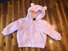 Baby Gap 12-18 M Pink Furry Jacket Bear Hooded Sweatshirt Fleece