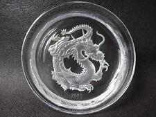 HOYA CRYSTAL Dish Dragon Carving ART ENGR AVinG SRies Made in JAPAN