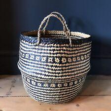 Large Black Natural Seagrass Belly Basket Zig Zag Planter Laundry Basket Tribal