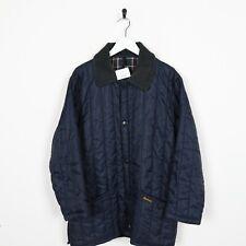 Vintage BARBOUR Pocket Logo Quilted Collared Jacket Coat Blue | XS
