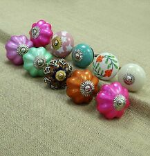 Hand Painted Ceramic Knob Lot Of 10 Pcs Kitchen Pull Multicolor Cabinet Knobs