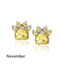 Ohrstecker Ohrring Hundepfote silberfarbiges Metall Zirkonia gelb Monat November