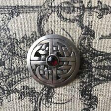 Garnet Gemstone Large Celtic Round Brooch Mma Vtg 925 Sterling Silver Real Red